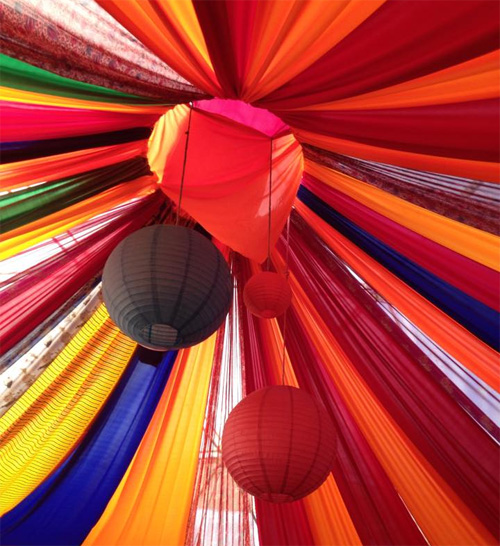 Bright colours inside tent