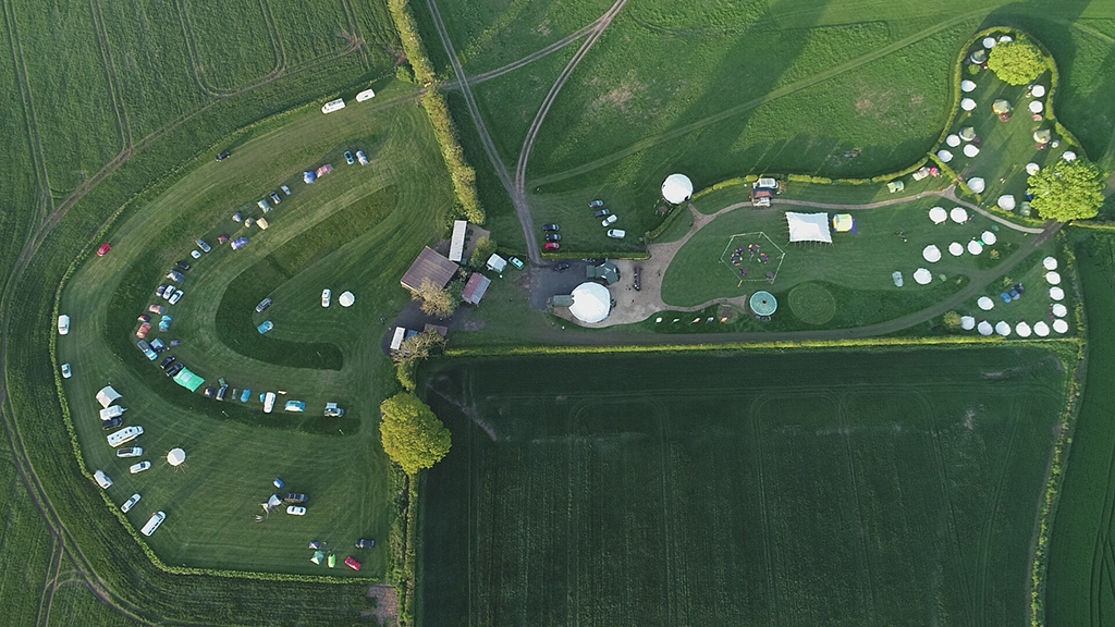 Out To Grass campsite Aerial Photograph